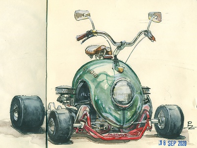 watercolor practice editorial book illustration hand drawn traditional art volkswagen beetle volkswagen kart racing kart illustration concept art sketchbook sketches ink and watercolor sketch watercolor