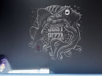 Almost done ink drawing illustration packaging illustration graphicdesign graphic design design package design packagingdesign packaging traditional art engraving crosshatching woodcut cuttlefish pizza pizza box