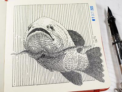 fish [ inktober 2020 ] ink fountain pen sketch crosshatching etching fish ink drawing inktober inktober2020