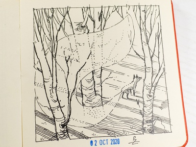 wisp [ inktober 2020 ] concept art gravure engraving hatching woodcut etching drawing illustration ink forest woods sketch fox