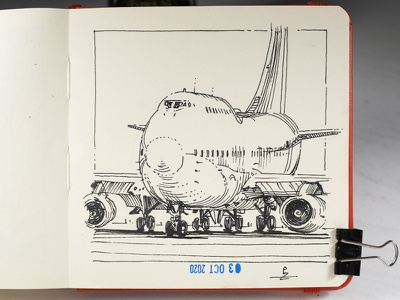 bulky [ inktober 2020 ] ink drawing usk urban sketching editorial illustration airplane aircraft boeing 747 illustration hatching engraving etching drawing sketch ink