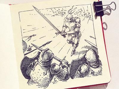 Blades out! [ inktober 2020 ] sketchbook blackandwhite pen and ink fountainpen action scene medieval swordman character storyboarding gravure editorial woodcut engraving hatching illustration etching drawing ink inktober inktober2020