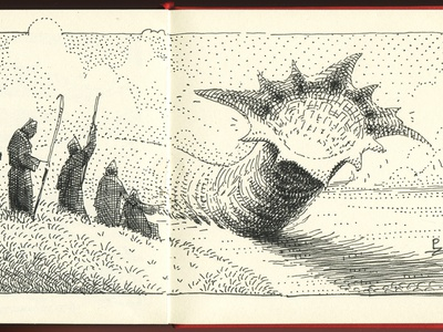 Dune [ inktober 2020 ] hand drawn pen drawing dune movie arrakis sandworm illustration editorial concept art hatching engraving woodcut etching drawing graphic ink pen art inktober inktober2020 dune