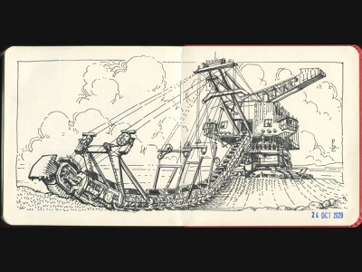 Tarkaf Ers 710 – absetzer [inktober 2020] crosshatching woodcut fineliner mining equipment stacker sketchbook hand drawn fountain pen hatching engraving concept art etching drawing ink sketch illustration digger machine mining absetzer