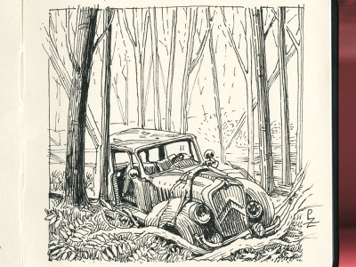 Ominous forest with abandoned car 🌳🌲 🚘 🌳 [inktober 2020] engraving hatching concept art woodcut etching drawing sketch graphic ink illustration
