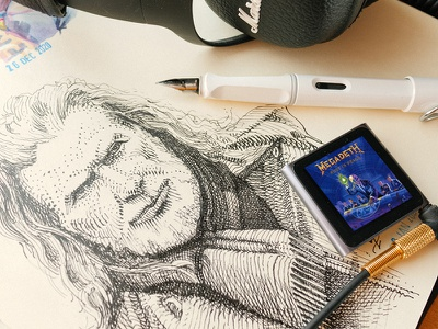 Dave 🤘 art inkdrawing megadeth dave mustaine illustration woodcut gravure engraving hatching etching drawing sketch graphic ink