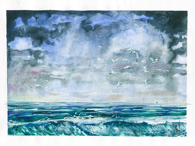 seascape [watercolor] concept art book illustration editorial illustration storm ocean sea drawing traditional art sketch illustraion watercolour watercolor