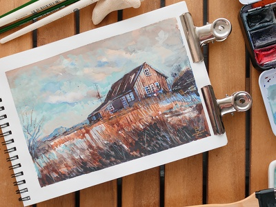 study [watercolor] hand drawn editorial illustration book illustration winter clouds house north landscape drawing sketch concept art traditional art editorial illustration watercolor gouache