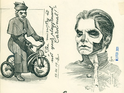 Cardinal Copia and Pope Emeritus III, Ghost B.C. emeritus copia sketching gravure ink graphic engraving woodcut etching drawing illustration sketch ink drawing ghostbc ghost