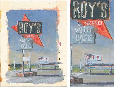 ROY'S Motel & Cafe, Neon Sign, Amboy, CA 🇺🇸 [gouache] route66 cafe motel virtual pleinair pleinair gouache painting gouache book art illustration editorial traditional art concept art