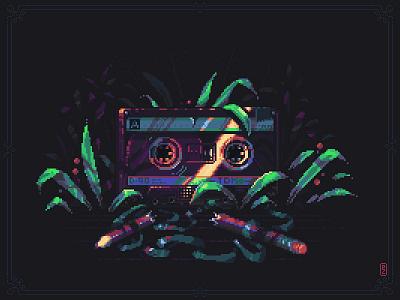 "Pioneer squad ""Youth"" '80 [pixelart] pixels pixelartist nature sovietwave dotpict 16bit 8bit illustration nostalgic yourth lost gamedev sprite aseprite pixelart pixel art retrowave cassette tape audio tape compact cassette"