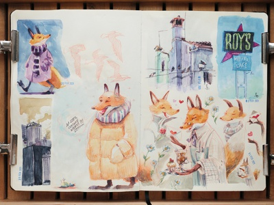 random page of my sketchbook [watercolor] sketch drawing adorable sketching sketchbook concept art watercolor painting analog art traditional art editorial illustration book illustration fox character design character kids illustration illustration watercolour watercolor
