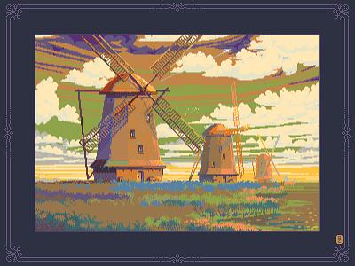 Windmill [pixelart] dithering aseprite pixel 16bit art 8bit art gameart sprite netherlands holland windmill illustration pixel artist pixelartist pixel art pixelart