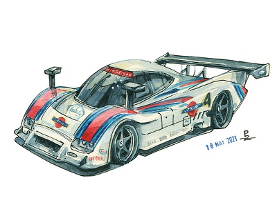 Lancia lc2 '85 [watercolor] graphic concept art drawing sketch illustration race car traditional art watercolor illustration editorial illustration book illustrations watercolor lancia autosport racecar