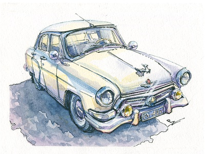 """GAZ 21 """"Volga"""" [watercolor] traditional art usk drawing ink graphic illustration old car ink and watercolor urban sketching sketch sketching watercolor car automobile soviet car"""