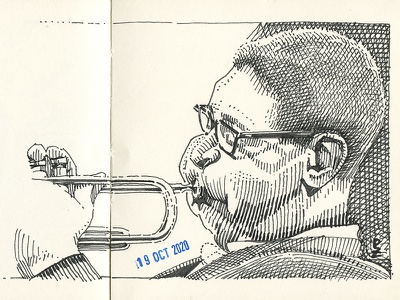 Dizzy Gillespie [ink] pen and ink scratchboard linocut drawing engraving gravure packaging design editorial art dizzy ink drawing crosshatching etching block ink woodcut graphic illustration ink