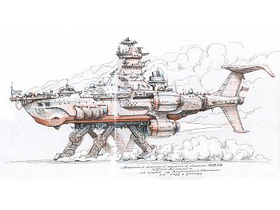 Heavy battlecruiser [ink drawing] hand drawn traditional art scifi mecha walker robot ship battlecruiser character design sketch graphic etching concept art drawing ink illustration