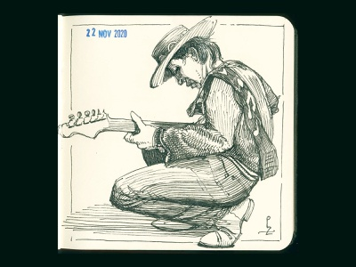SRV [ink drawing] double trouble musician stratocaster fender srv stevie ray vaughan blues guitaris guitar etching drawing graphic sketch ink illustration