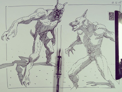 Werewolf lycanthrope lineart graphic lamy ink sketching drawing werewolf