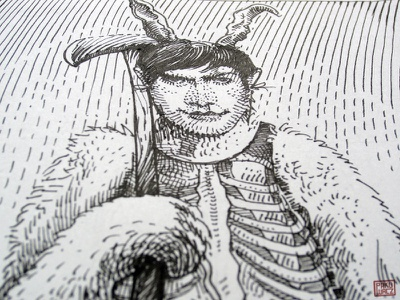 Inkotber day 2. Costume drawlloween inktober black and white drawing woodcut gravure etching ink illustration graphic