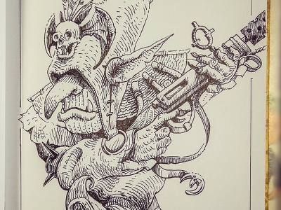 Day 5. Goblin goblin black and white drawing woodcut gravure etching ink illustration graphic
