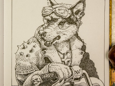 Day 6. Wolfman wholfman black and white drawing woodcut gravure etching ink illustration graphic
