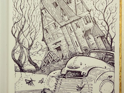 Day 7. Haunted house inktober haunter house black and white drawing woodcut gravure etching ink illustration graphic
