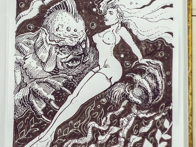 Day 11. Creature from the Black Lagoon creature from the black lagoon black and white drawing woodcut gravure etching ink illustration graphic