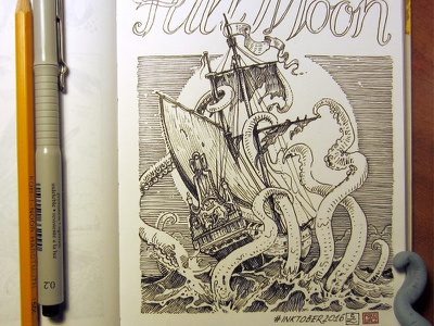 Day 16. Full Moon kraken black and white drawing woodcut gravure etching ink illustration graphic