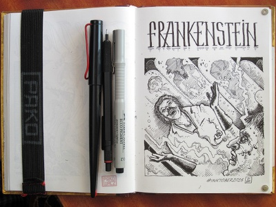 Day 17. Frankenstein frankenstein black and white drawing woodcut gravure etching ink illustration graphic