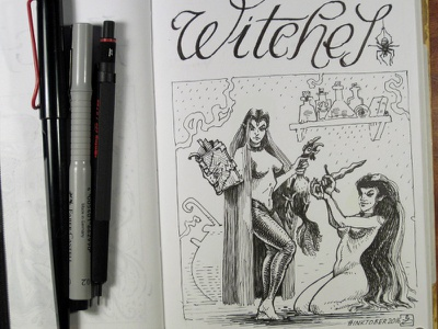 Day 20 [witches] witch black and white drawing woodcut gravure etching ink illustration graphic
