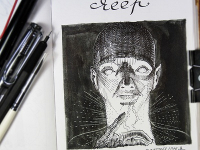 Day 19 [candlelight creep] creep black and white drawing woodcut gravure etching ink illustration graphic