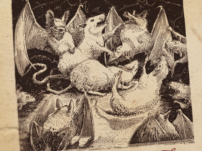 Day 21-22 Bats vs Rats black and white drawing woodcut gravure etching ink illustration graphic