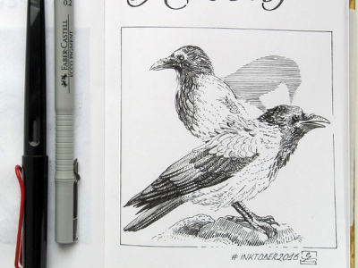 Day 23 Ravens black and white drawing woodcut gravure etching ink illustration graphic