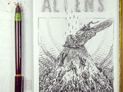 Day 26. Aliens black and white drawing woodcut gravure etching ink illustration graphic