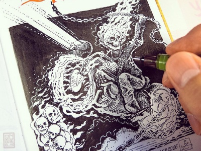 Day 28. Ghost Rider black and white drawing woodcut gravure etching ink illustration graphic
