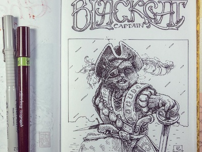 Day 29 Captain Black cat black and white drawing woodcut gravure etching ink illustration graphic