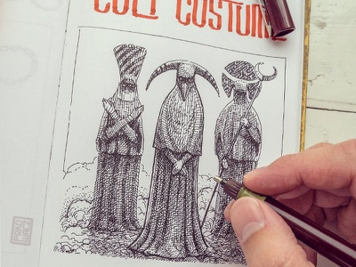 Day 31 Cult costume character design concept art black and white drawing woodcut gravure etching ink illustration graphic