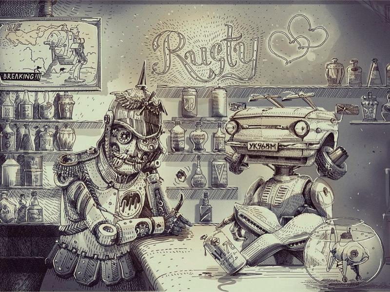 Main Characters At Rusty Hearts Bar By Denis Pakowacz Dribbble
