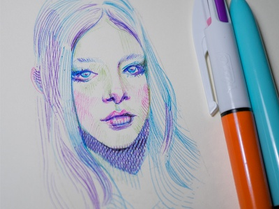 quick warm up with bic 4 color pen ballpointpen bic4color linework illustration drawing sketch