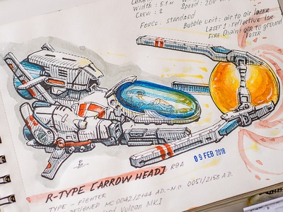 R-Type (shmup retrogame) retrogaming concept art rtype watercolor ink drawing sketching sketch