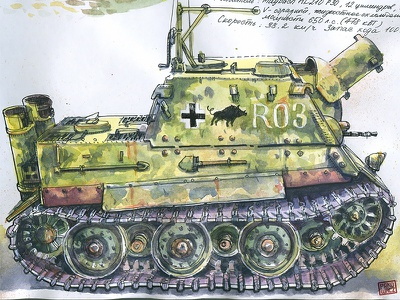 Sturmtiger 38 cm RW61 sturmtiger tank wip watercolor ink drawing sketching sketch wot
