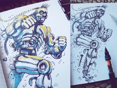 March of Robots '18 #01 watercolor mech cross hatching ink drawing character design concept art robot