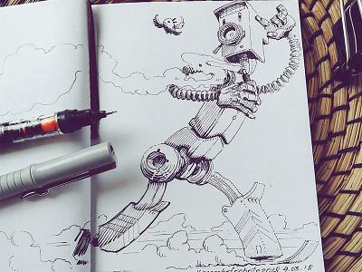 March of Robots '18 #04 mech cross hatching ink drawing character design concept art robot