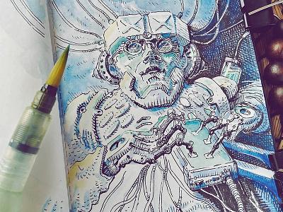 March of Robots '18 #04 cyberpunk mech cross hatching ink drawing character design concept art robot