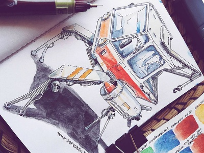 March of Robots '18 #05 watercolor mech cross hatching ink drawing character design concept art robot