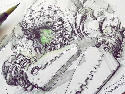 March of Robots '18 #11 watercolor mech cross hatching ink drawing character design concept art robot