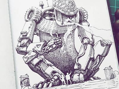 March of Robots '18 #12 mech cross hatching ink drawing character design concept art robot