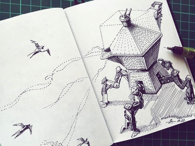 March of Robots '18 #13 illustration graphic robot mech drawing ink cross hatching concept art character design