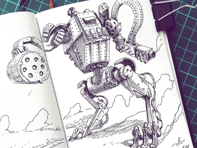 March of Robots '18 #16 illustration graphic robot mech drawing ink cross hatching concept art character design